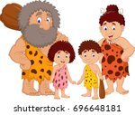 cartoon caveman family isolate...