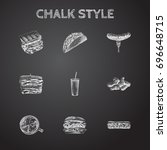 hand drawn food sketches set.... | Shutterstock .eps vector #696648715