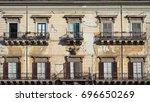 sicilian balconies | Shutterstock . vector #696650269