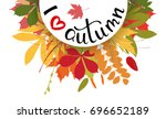 i love autumn background with... | Shutterstock .eps vector #696652189