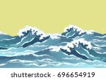 sea waves in oriental vintage... | Shutterstock .eps vector #696654919