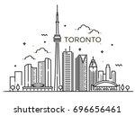 Linear Banner Of Toronto. Line...