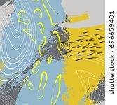 vector hand drawn water splash... | Shutterstock .eps vector #696659401