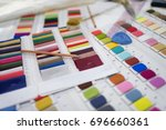 colorful fabric and thread... | Shutterstock . vector #696660361