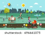 vector flat city park. people... | Shutterstock .eps vector #696661075