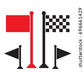 black flag and red flag vector... | Shutterstock .eps vector #696661429