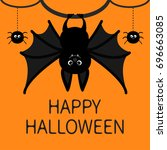 happy halloween card of bat... | Shutterstock .eps vector #696663085