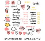 sticker set for diary and... | Shutterstock .eps vector #696665749