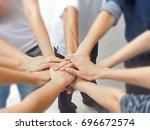in selective focus of business... | Shutterstock . vector #696672574