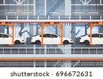 car production conveyor...   Shutterstock .eps vector #696672631