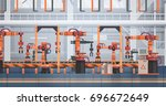 factory production conveyor... | Shutterstock .eps vector #696672649