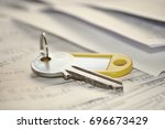 rental agreement with contract... | Shutterstock . vector #696673429