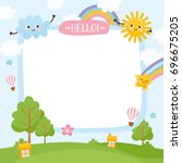summer creative frame.... | Shutterstock .eps vector #696675205