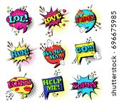 comic speech chat bubble set...