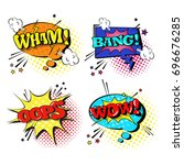 comic speech chat bubble set... | Shutterstock .eps vector #696676285