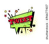 comic speech chat bubble pop... | Shutterstock .eps vector #696677407