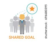 shared goal businesspeople team ... | Shutterstock .eps vector #696680395