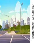 city street skyscraper... | Shutterstock .eps vector #696681457