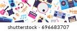 seamless pattern music... | Shutterstock .eps vector #696683707