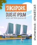 singapore city view skyscraper...   Shutterstock .eps vector #696685165