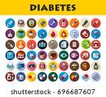 diabetes icons set. vector...   Shutterstock .eps vector #696687607