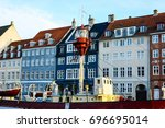 copenhagen nyhavn  new harbour  ... | Shutterstock . vector #696695014