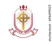 christian cross golden emblem... | Shutterstock . vector #696699025