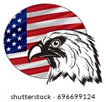 not colored head of eagle with...   Shutterstock . vector #696699124
