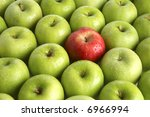 Background Of Green Apples Wit...