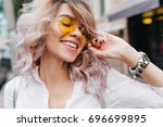 close up portrait of blonde... | Shutterstock . vector #696699895