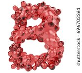b letter made of bubbly red... | Shutterstock . vector #696702361