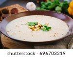 Chestnut Cream Soup On Brown...
