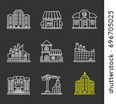 city buildings chalk icons set. ... | Shutterstock .eps vector #696705025
