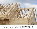 structure of a wooden house... | Shutterstock . vector #696709711