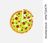 pizza fast food logo or icon... | Shutterstock .eps vector #696710479