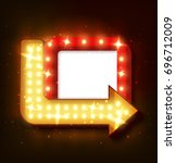 retro neon sign with neon arrow.... | Shutterstock . vector #696712009