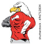mascot eagle standing with back ...   Shutterstock .eps vector #696712834
