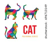 low poly logo icon cat pet... | Shutterstock .eps vector #696713149