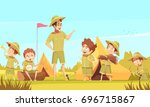 scouting boys mentor guides... | Shutterstock .eps vector #696715867