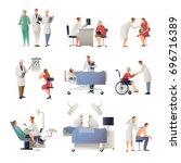 doctor and patient set of flat... | Shutterstock .eps vector #696716389