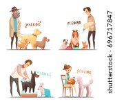 dog concept icons set with... | Shutterstock .eps vector #696717847