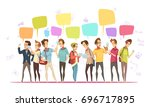 teenagers boys characters... | Shutterstock .eps vector #696717895