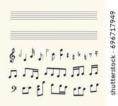 musical staff  notes  keys for... | Shutterstock .eps vector #696717949