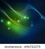 3d illuminated wave of glowing...   Shutterstock .eps vector #696722275