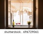 romantic european hotel getaway.... | Shutterstock . vector #696729061