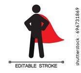 superhero silhouette icon. hero.... | Shutterstock .eps vector #696731869