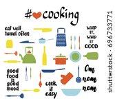 unique set of kitchen utensils. ...   Shutterstock .eps vector #696733771