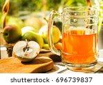 apples  apple cider ale in beer ... | Shutterstock . vector #696739837