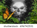 environmental destruction and... | Shutterstock . vector #696742531