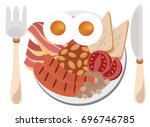 english breakfast vector | Shutterstock .eps vector #696746785
